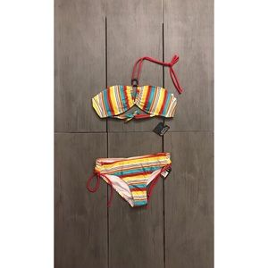 NWT Oxygen swimsuit halter style top with stripes